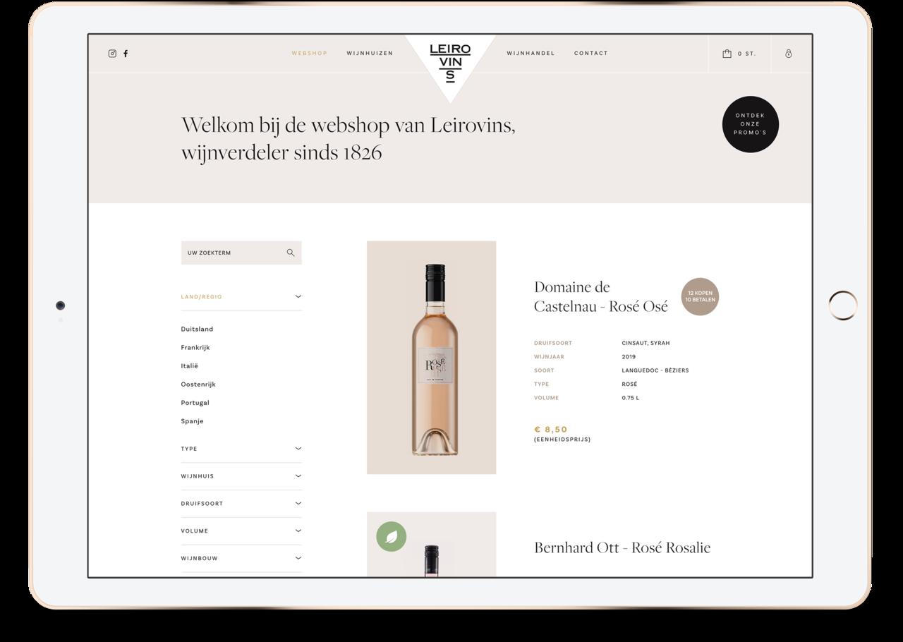 Webatvantage showcase - Leirovins - webshop